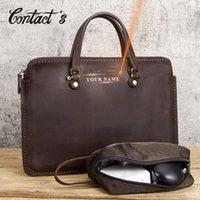 "Contact's Free Engraving Men Briefcase Crazy Horse Leather Laptop Bag 15"" PC Computer Bags Vintage Male Handbags Brand Design Q0112"
