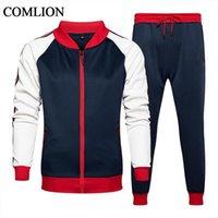 봄 가을 망 트랙 슈트 세트 브랜드 새로운 2 조각 세트 스포츠 정장 재킷 + 바지 Sweatsuit 남성 패치 워크 의류 크기 S-5XL