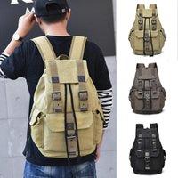 Vintage Canvas Backpack Men School Bags For Teenage Boy Bookbag Casual Man Travel Backbag Retro Hasp Male Bag Pack