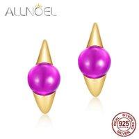 Hoop Huggie Allnoel Sólido 925 Brincos de Prata Esterlina para Mulheres Sintéticas Ametista Candy Series 2021 Ouro das Mulheres