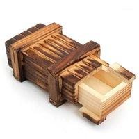 Vintage Almacenamiento de madera Hidden Magic Gift Box Secreto Cajón Cerebro Rompecabezas Caja Cofre Juguete Aprendizaje Niños Niños Regalos1
