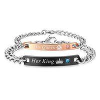 Link, Catena 4 Stili Il suo re Sua Regina Coppia Braccialetto in acciaio inox Stell Crystal Crown Charm per donna Goccia regalo gioielli