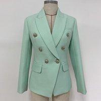 YÜKSEK KALİTE Yeni Moda 2020 Tasarımcı Blazer Kadın Klasik Aslan Düğmeleri Çift Breasted Blazer Ceket Nane Yeşil