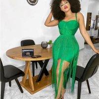 Neue Mode Hohe Qualität Gelb Schwarz Quaste Rayon Lange Verband Kleid Celebrity Abend Party Kleid Y1224