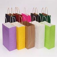 크래프트 종이 가방 작은 종이 선물 가방 손잡이 파티 재활용 쇼핑 가방 발렌타인 데이 크리스마스 갈색 선물 포장 가방