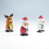 Beau Noël en plastique jouets mécaniques Père Noël Bonhomme de neige Clockwork Jouets enfants saut cadeau Cadeaux de Noël Personnages de dessins animés VT1759