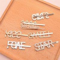 Lettere Rhinestone Hairpin Silver Gold Letter Word Crystal Hairpin Girl Rhinestone Barrette Ornamento regalo Accessori per capelli CCA3152