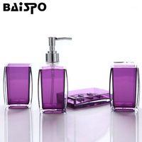 Conjunto de acessórios de banho Baispo Simples Acrílico Colorido Sólido Banheiro 4 Pcs Acessórios Produtos Lava Kits de Armazenamento1