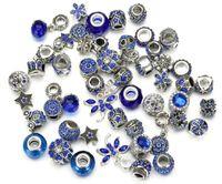 Bir Set Alaşım Gümüş Mavi Renkler Avrupa Stili Büyük Gevşek Boncuk 50pcs Pan Charms Bilezikler Sanal Mağaza Güzel Kalite Takı Aksesuar için