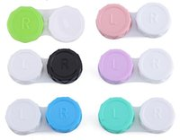Bon marché en gros Colorful Lentilles de contact belle coloré double boîte double Lens Case Tremper cas de stockage absolvez DHL
