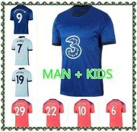 남자 아이들 20 21 축구 유니폼 Havertz Werner 축구 셔츠 Ziyech Pulisic Thiago Silva Camiseta de Futbol 2020 2021 Abraham Kante Lampard