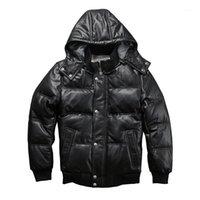 22055 lecture description! ASVLY Asian Taille Super chaude Mens véritable en cuir véritable veste de mouton chaud skin hiver down Jacket1