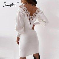 Simplee Seksi V Yaka Patchwork Elbise Beyaz Dantel Kenar A-Line Fener Kollu Elbise Sonbahar Gece Kulübü Açık Geri Diz Boyu1