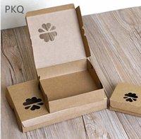 중공 클로버 에그 타르트 박스 이벤트 파티 베이킹 쿠키 호의 10pcs 포장 빈티지 종이 상자 케이크