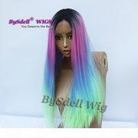 Nueva Llegada Synthetic Black Roots Oscuro Ombre Sirena Unicornio Unicornio Pink Blue Green Color Peluca de pelo largo Larga Pelucas delanteras del cordón para la venta