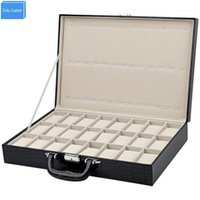 Special for watch shop retail case jewelry watch storage travel 24 slots display box alligator pattern leather box watches caixa1
