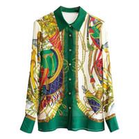 활주로 브랜드 디자인 럭셔리 플러스 사이즈 탑 여름 바로크 궁전 빈티지 셔츠 여성 인쇄 긴 소매 블라우스 의류 3L Y200828