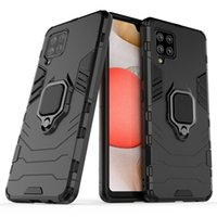 Armor Dual Layer case 360 Degree Rotating Metal Ring Holder Kickstand Shockproof Cover for Samsung Galaxy A42