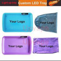 OEM Custom Rolling Tray LED Glow Fach Personifizieren Sie Ihre eigenen Design-Cookies Glühfach mit Farbbilder Logo Customized Retail-Verpackung