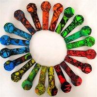 Bunte Graffiti-Silikon-Rohr-Rohr-Silikon-Rauch-Tabakrohr mit Edelstahl-Schüssel Silikon-Handleitungen rauchen Herb