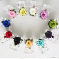 Akrilik Gül Yüzük Kutusu Romantik Ölümsüz Korunmuş Taze Çiçek Gül Yüzük Kutusu Düğün Angajman Sevgililer Günü Hediye Kutuları Prove 193 N2