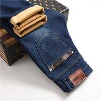 Dropshipping Herren Winter Stretch Dicke Velvet Jeans Lange Warme Jeans Fleece gesäumt Denim Jenas Männliche Hosen Hose 28-421