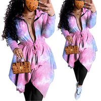 Ladies Tie Dye Dress Fashion Trend Zipper Lapels Long Sleeve...
