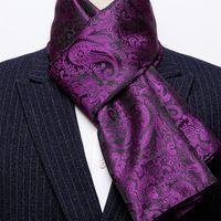 Зима Дизайнер 160см Длинные Мужчины Фиолетовый Paisley шелковый шарф Мужской Марка шаль Wrap лица шарф Grade A Взрослый Barry.Wang