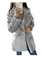 Kadın Yün Karışımları S-XL Kadınlar 2021 Kış Üst Moda Pembe Faux Kürk Ceket Zarif Kalın Sıcak Giyim Sahte Ceket Chaquetas Mujer1