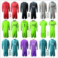 2020 2021 Manica lunga Boy Kids Youth Youth Courtois Soccer Set Portiere Kit Blu # 1 Courtois Portiere Bambini LKER Casillas Jersey