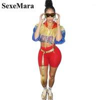 Trajes de mujer Sexemara Dos trajes de 2 piezas de 2 piezas para mujeres Sexy Mesh Cult Top Sudadera con capucha y pantalones cortos del ciclista Otoño 2021 Traje Streetwear D4