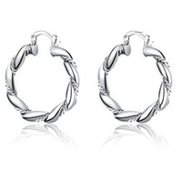 Charm klä upp flicka silver smycken hoop örhängen europeisk stil kreativ snodd rep runda för kvinnor utsökt git närvarande