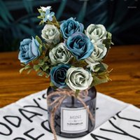 Bunch Artificial Flowers Fake Rose Wedding Bouquet Party Hom...