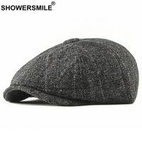 SHOWERSMILE Tweed Newsboy Cap Hommes Laine Herringbone Cap plat d'hiver gris rayé Homme British style Gatsby Chapeau réglable