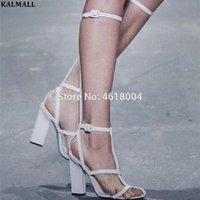 KALMALL Fashion Runway Knee High Sandal Boots T-strap Gladiator Block High Heels Cut Outs Sandals Summer Boots Women