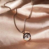 Кулон ожерелья Yun Ruo Rose Gold Color Doraemon Shell Perdant Ожерелье 316 L Титан Сталь Ювелирные Изделия Женщина День Рождения Подарок не исчезает