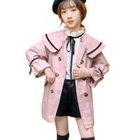 Coat Girls Waterbreaker Chaquetas 2021 Niños de otoño Inglaterra Estilo Trench Doble-Breasted Casual Outerwear 4-13 Edad Chica Kids1