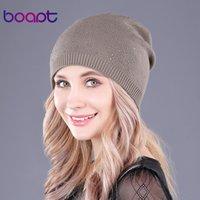 [boapt] الكشمير الحياكة قبعة صغيرة القبعات قبعات الشتاء المرأة الراين ذات الطابقين سكولي الحارة بينيس قبعة الأزياء النسائية