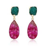 Danning Chandelier design in pietra naturale orecchini romantici per ragazze stile coreano singolo rosso verde regalo di cristallo