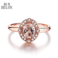 Helon sólidos 10K Rose Gold Flawless Oval Cut 7x5mm genuínos diamantes Morganite Mulheres Trendy Fine Jewelry Anel de noivado casamento