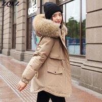 Mulheres para baixo parkas zqlz jaqueta de inverno mulheres quente algodão revestimento com capuz casaco longo ajustável cintura coleira de pele parka 2021