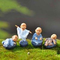 Kung Fu Karikatür Keşiş Figürinler Mini Keşiş Süsler Teraryum Dekorasyon Moss Etli Mikro Peyzaj Reçine Monk El Sanatları Çocuklar Oyuncak BWD2736
