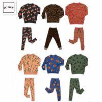 Carlijnq Junge Mädchen Leopard Geometrie Anzug Casual Leggings Pullover Kinderkleidung Y200325