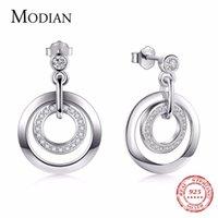 Modian 2019 Venta caliente Real 925 Sterly Silver Círculo Clásico Pendientes Pendientes Clear CZ Joyería de Lujo para Mujeres Regalo de Navidad Y1220