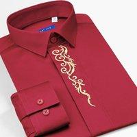 Smart Five 2018 Новая формальная туксивная рубашка мужчина высококачественная блузка Camisa 100% хлопок с длинным рукавом красные рубашки мужской SFL5Q301