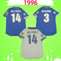 1996 1998 الرجعية إيطاليا لكرة القدم الفانيلة 96 98 مالديني ديل بييرو باجيو زولا لكرة القدم قمصان كلاسيك ماجلي دا كالكيو رافانيلي خمر مايلوت