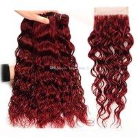 # 99J Bourgogne Malaysian Waigine Humain Cheveux humains 3 Bundles avec une fermeture de dentelle 4x4 4pcs Vin rouge vison mouillé et ondulé