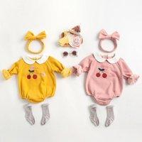 2021 새로운 겨울 소녀 체리 인쇄 jumpsuits 신생아 플러스 Veet 따뜻한 아기 소녀 바디 수트 바지 옷 0-3 년 EW8K