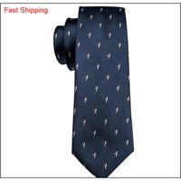 Tie per uomo di lusso cravatta blu scuro con carino pinguino piccolo modello set fazzoletto e polsini hot all'ingrosso business we qyljvw new_dhbest