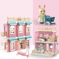 DIY handgemachte Puppenhaus Simulation Haus Spielzeug Miniatur Puppenhaus Puppe Villa Koala Stadt Badezimmer Küche Schlafzimmer Spielzeug für Kinder LJ201126